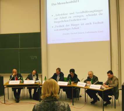 Podiumsdiskussion: Götz Werner, Lutz Wingert, Claus Offe, Ute Fischer, Wolfram Richter, Sascha Liebermann
